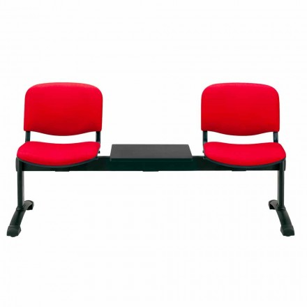 Bench for Waiting Room 2 seats in Tissue, Eco-leather or Beech – Carmela