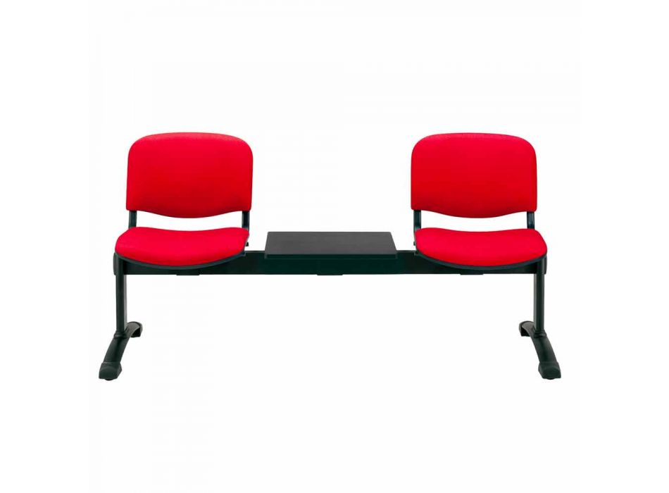 Waiting Room Bench with 2 Modules Seat in Fabric / Ecoleather and Beech - Carmela
