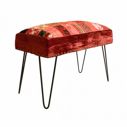 Ethnic Design Bench Upholstered and Covered with Handmade Patchwork - Jador