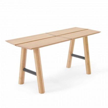 Modern Design Bench in Ash Wood with Veneered Seat - Andria