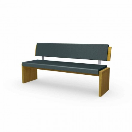 Modern bench in oak wood, upholstered in black eco-leather, Candy