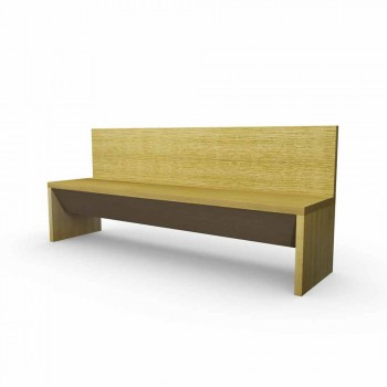 Linear oak bench with container, made in Italy, Cassy