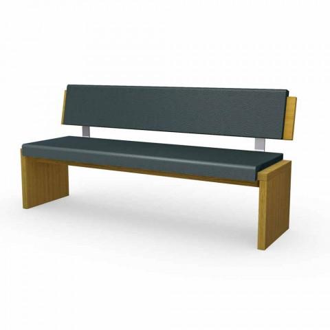 . Modern bench in oak wood upholstered in black eco leather  Misty