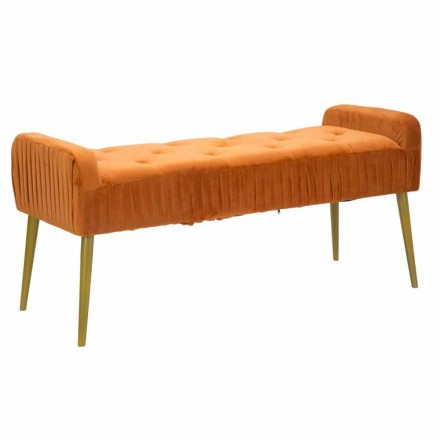 Modern Rust-colored Rectangular Bench in Fabric and Wood - Zack