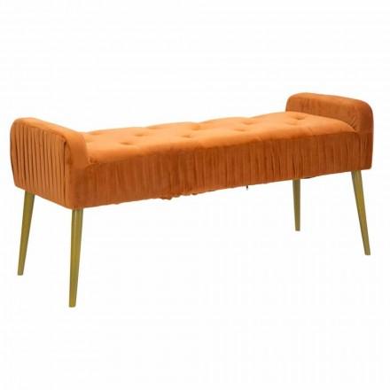 Rust Modern Rectangular Bench in Fabric and Wood - Zack