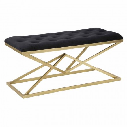 Rectangular Bench of Modern Design in Iron and Fabric - Haily