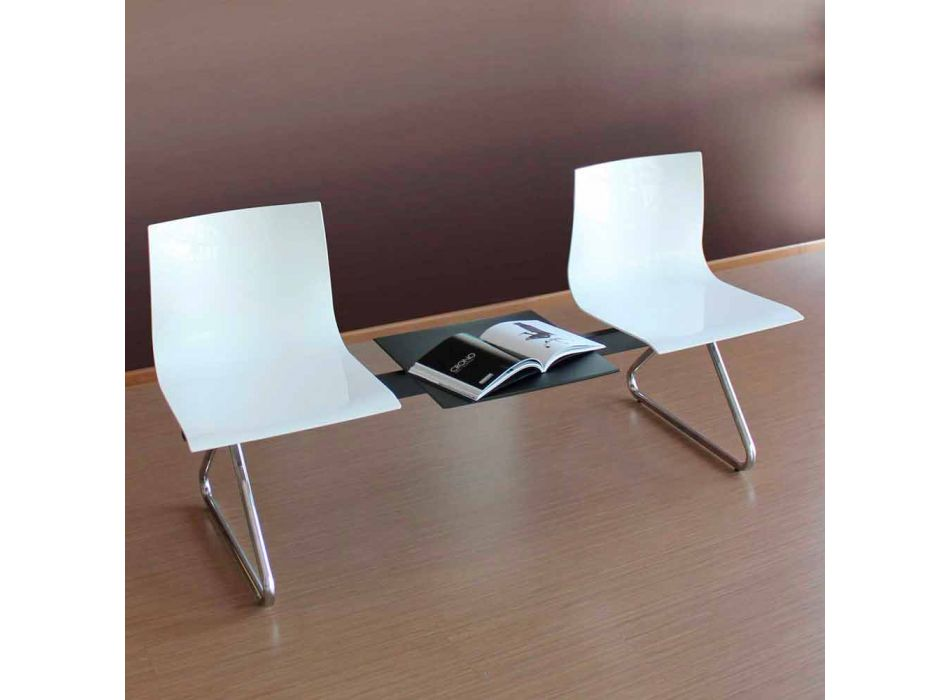 2 Seater Office Bench with Coffee Table in Steel and Colored Technopolymer - Verenza