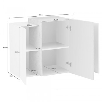 3-Door Living Room Wall Unit in White Wood Sideboard 3 Finishes - Therese