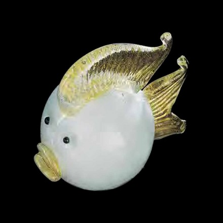 Handcrafted Puffer Fish in White and Gold Murano Glass Made in Italy - Poland