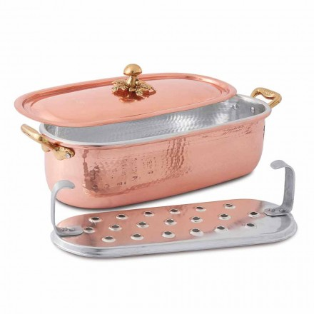 Fish Pot in Italian Handmade Tinned Copper with Lid 44 cm - Mariapia