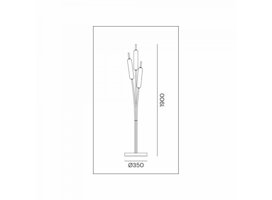 3 Lights Floor Lamp in Brass and Glass Modern Elegant Design - Typha by Il Fanale
