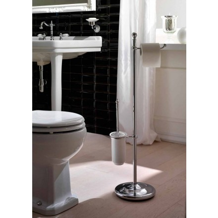 Floor lamp with paper holder and toilet brush holder in brass and ceramic - Caen