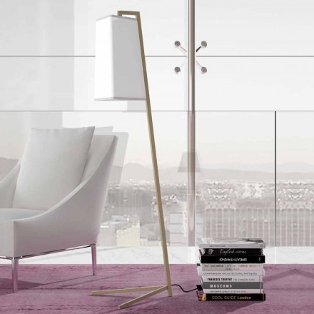 Metal Floor Lamp with Modern White Cotton Lampshade Made in Italy - Barton