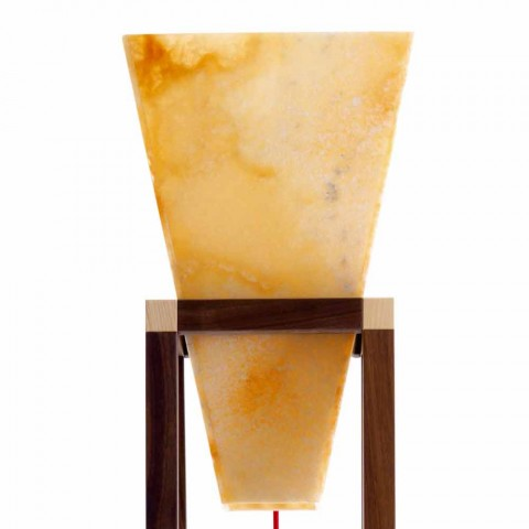 Floor lamp in onyx and design wood Grilli York made in Italy
