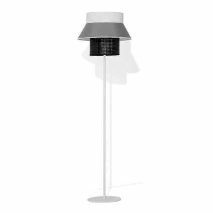 Modern floor lamp in metal and lampshade in cotton and rattan Made in Italy - Sailor