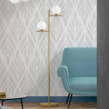 Modern Floor Lamp in Metal Brass Finish and Opal Glass Made in Italy - Carima