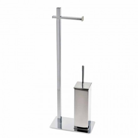 Modern Design Iron Stand for Toilet Brush and Roll Made in Italy - Cali