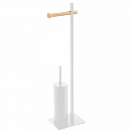 Toilet brush and toilet paper holder in metal and wood Zelbio