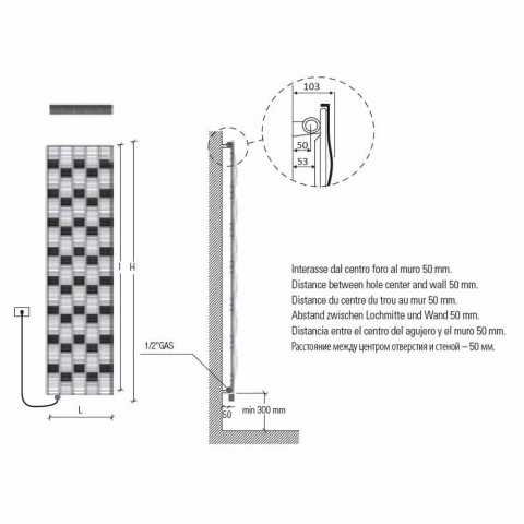 5 Bar Design Steel Electric Radiant Plate up to 1000 Watt - River
