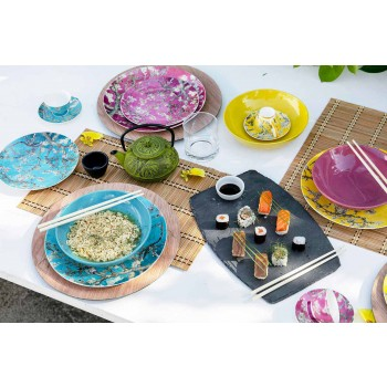 Colored Porcelain and Stoneware Plates Modern Table Service 18 Pieces - Nagoya