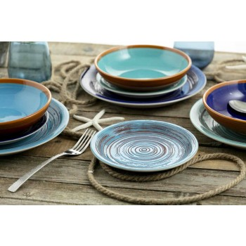 Colored and Modern Plates 18 Pieces in Stoneware Complete Table Service - Egadi