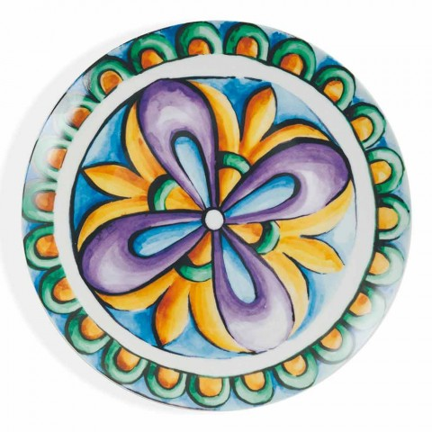 Colored and Modern Ethnic Plates in Porcelain and Stoneware 18 Pieces Service - Maia