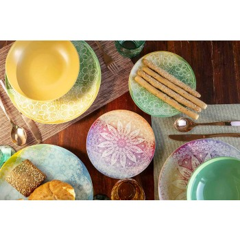 Colored Dishes in Porcelain and Porcelain 18 Pieces Serving Table - Ipanema