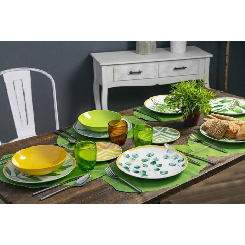 Colored Plates in Porcelain and Gres Modern Service Complete 18 Pieces - Albore