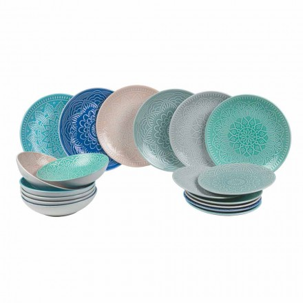 Modern Colored Plates 18 Pieces Complete Table Service in Gres - Creta