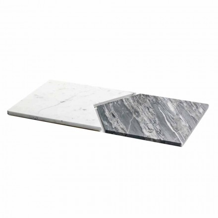 Serving Plates in Carrara and Bardiglio Marble Made in Italy, 2 Pieces - Pea
