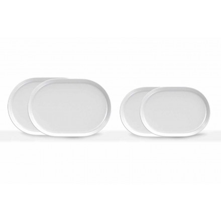 Modern Design White Oval Serving Plates in Porcelain 4 Pieces - Arctic