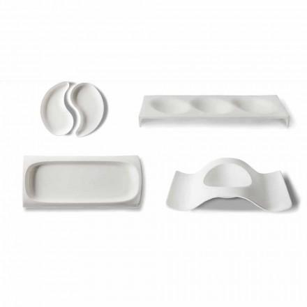 Gourmet Design Appetizer Service Plates in Bone China 9 Pieces - Flavia