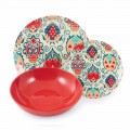 Colored Design Plates in Porcelain Service 18 Pieces - Zambia