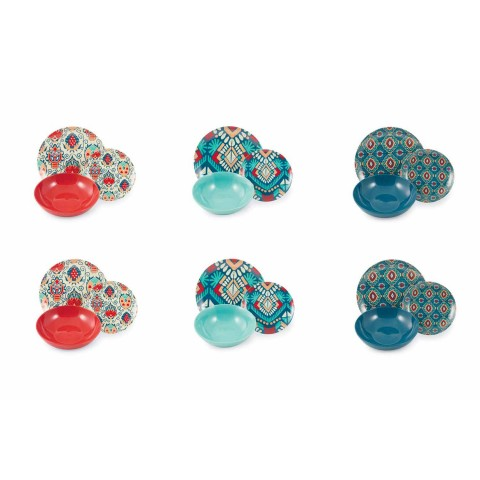 Colored Design Plates in Porcelain and Porcelain Service 18 Pieces - Zambia