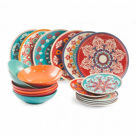 Ethnic Dishes 18 Pieces Colored Porcelain and Stoneware Table Service - Persia