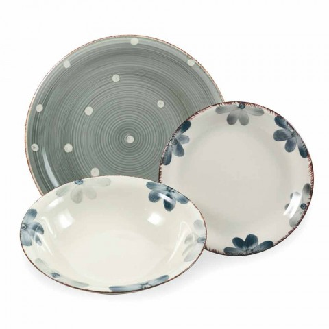 Colored and Modern Stoneware Plates Service 18 Pieces of Table Design - Mita