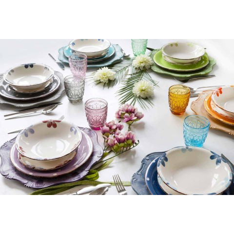 Colored and Modern Stoneware Plates Service 18 Pieces of Design Table - Mita