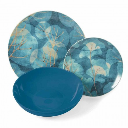 Modern Blue or Pink Stoneware and Porcelain Plates 18 Table Items - Autumn
