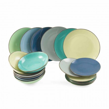 Plates in Colored Modern Stoneware 18 Pieces Complete Table Service - Regal