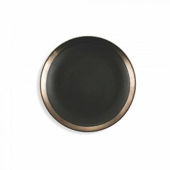 Black and Gold Stoneware Plates Tableware Set Modern 18 Pieces - Oronero