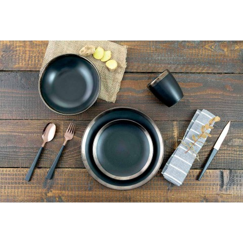 Black and Gold Stoneware Plates Tableware Set Modern 18 Pieces - Oronero