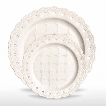 Favor Plate 12 Pieces in White Porcelain Hand Decorated - Rafiki