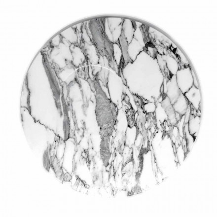 Round Serving Plate in White Carrara Marble Made in Italy - Kamil