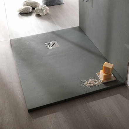 Shower Tray 100x70 Modern Design in White or Gray - Cupio Concrete Effect