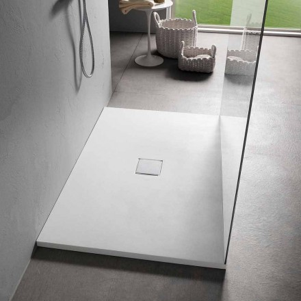 Resin Shower Tray 120x80 in Modern White Velvet Effect Finish - Estimo