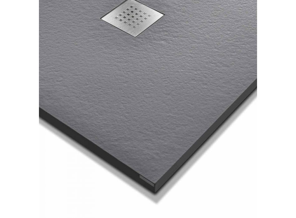 120x90 Shower Tray in Stone Effect Resin with Steel Grid - Domio