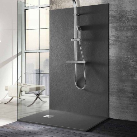 Shower Tray 140x70 in Stone Effect Resin with Steel Grid - Domio