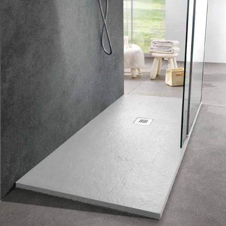 Shower Tray 160x70 Modern Design in White Resin Slate Effect - Sommo