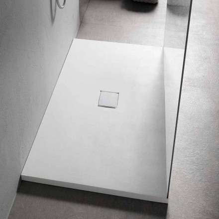 Shower Tray 160x80 cm in White Resin with Drain and Cover - Estimo