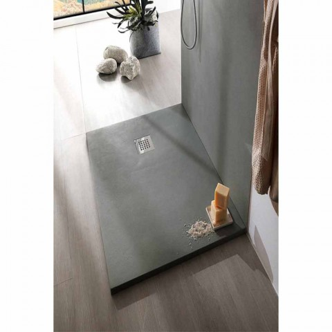 Concrete Effect Resin Shower Tray 170x70 with Steel Grid - Cupio
